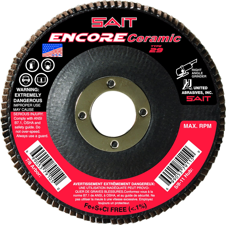 United Abrasives 10-Piece SAIT 72822 Encore Ceramic Flap Disc with 4-1//2-Inch Diameter and 7//8-Inch Arbor
