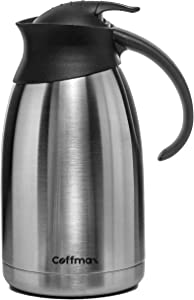 Large 68 Oz Thermal Coffee Carafe for Keeping Beverages Hot or Cold - 2L Vacuum Insulated Liquids Server Pitcher - Stainless Steel Water Tea Milk Creamer Dispenser by Coffmax
