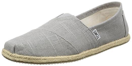 Toms Classic Grey Linen Mens Canvas Espadrilles Shoes Slipons-8 CV7I5