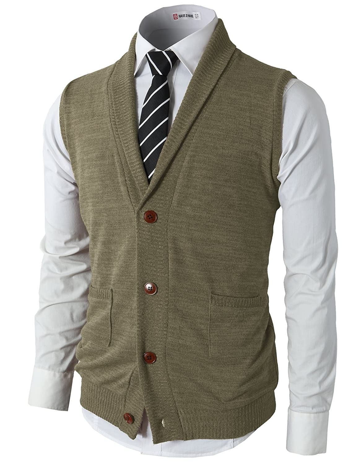 H2H Mens Casual Slim Fit V-Neck Button-Front Shawl Collar Vest with Pockets