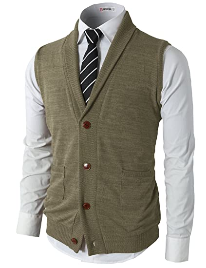 H2h Mens Casual Slim Fit Kniited Sweater Vests V Neck Button Down