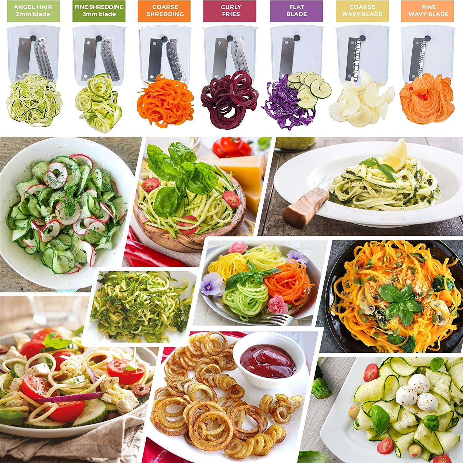 Spiralizer Ultimate 7 Strongest-and-Heaviest Duty Vegetable Slicer Best Veggie Pasta Spaghetti Maker for Keto//Paleo//Gluten-Free With Extra Blade Caddy /& 4 Recipe Ebook White