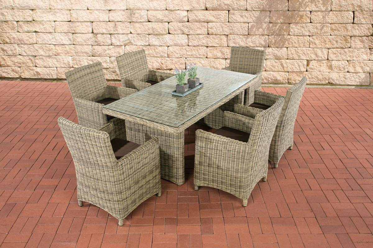 clp polyrattan sitzgruppe fontana natura 6 st hle mit tisch 180 x 90 cm inkl bequemen. Black Bedroom Furniture Sets. Home Design Ideas