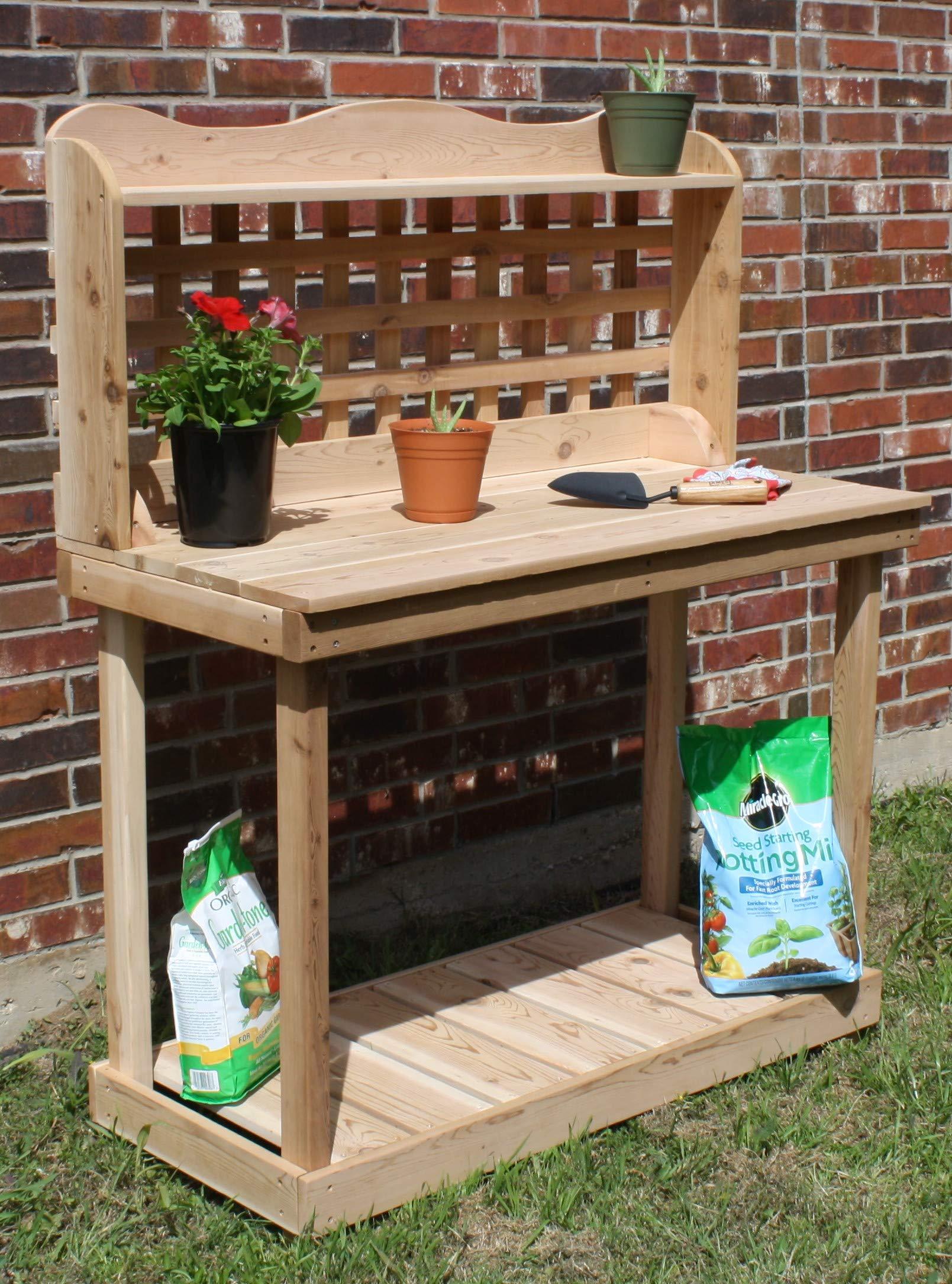 THREE MAN Cedar Decorative Lattice Gardening Potting Bench - 6 Foot Natural by THREE MAN (Image #1)