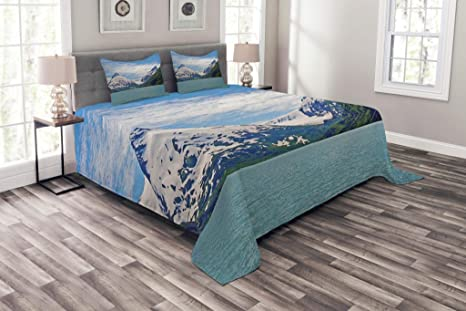 Details about  /Landscape Quilted Bedspread /& Pillow Shams Set Mountains and Sunset Print