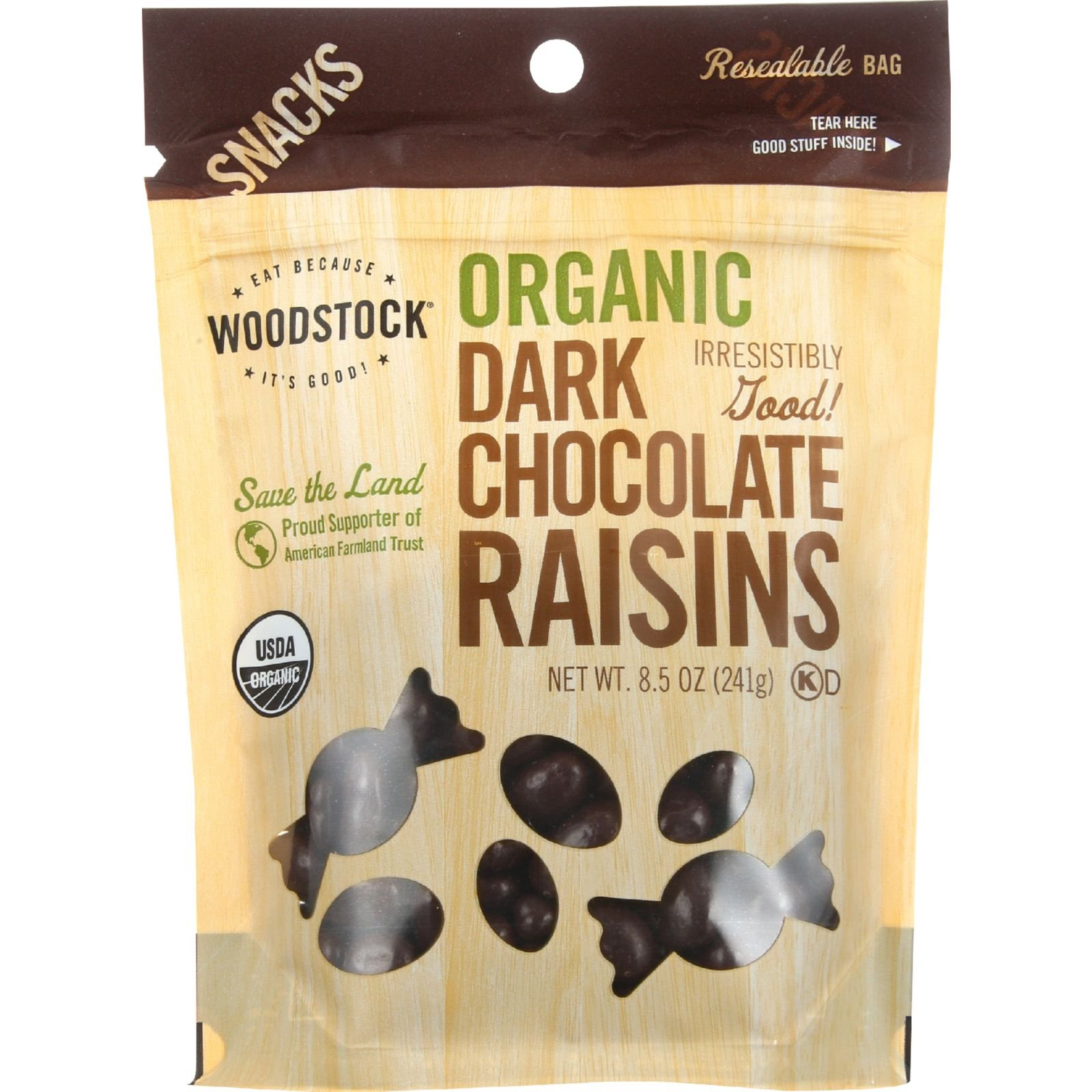 Woodstock Snacks - Organic - Dark Chocolate Raisins - 8.5 oz - case of 8 - 95%+ Organic - Vegan