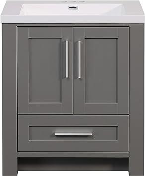 Runfine Rf110079 30 Inch Cultured Marble Top Premium Grey Finish Bathroom Vanity Gray Amazon Com