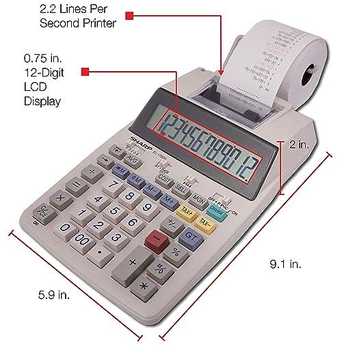 Sharp EL-1750V Two-Color Printing Calculator 2 Lines/Sec 3