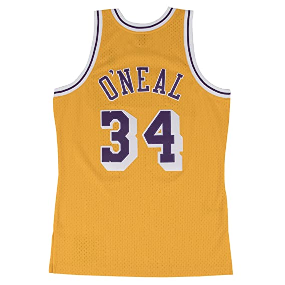 a824707ee Amazon.com   Mitchell   Ness Yellow Purple Los Angeles Lakers Shaquille  O Neal Swingman Jersey   Clothing