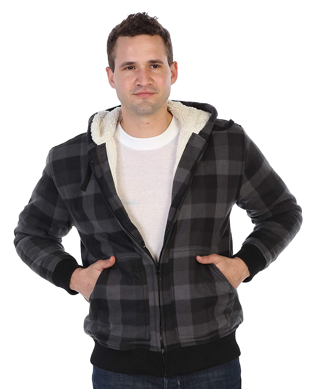 Gioberti Mens Checkered Flannel Hoodie Jacket with Sherpa Lining China JA-904