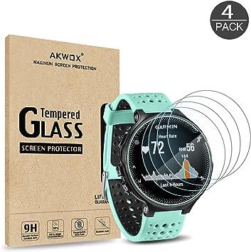 AKWOX [4 Unidades] Protector de Pantalla para Garmin Forerunner 235 225 620 220 [9H Dureza] Cristal Vidrio Templado para Garmin Forerunner 235 225 620 220 Cristal Templado: Amazon.es: Electrónica