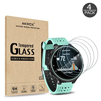 (Pack of 4) Tempered Glass Screen Protector for Garmin Forerunner 235 225  620 220, Akwox [0 3mm 2 5D High Definition 9H] Premium Clear Screen