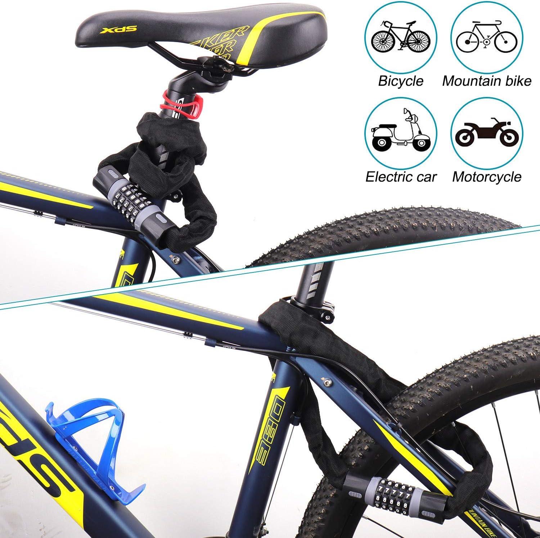 Candado de Combinaci/ón de Bicicleta Candado Flexible Alta Seguridad Candados de Cadena para Bicicletas 90cm,100cm Bloqueo Antirrobo Bicicleta Tevlaphee Candado de Bicicleta