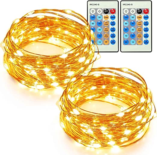 33ft 100 LED String Lights Dimmable with Remote Control Waterproof Decorative L