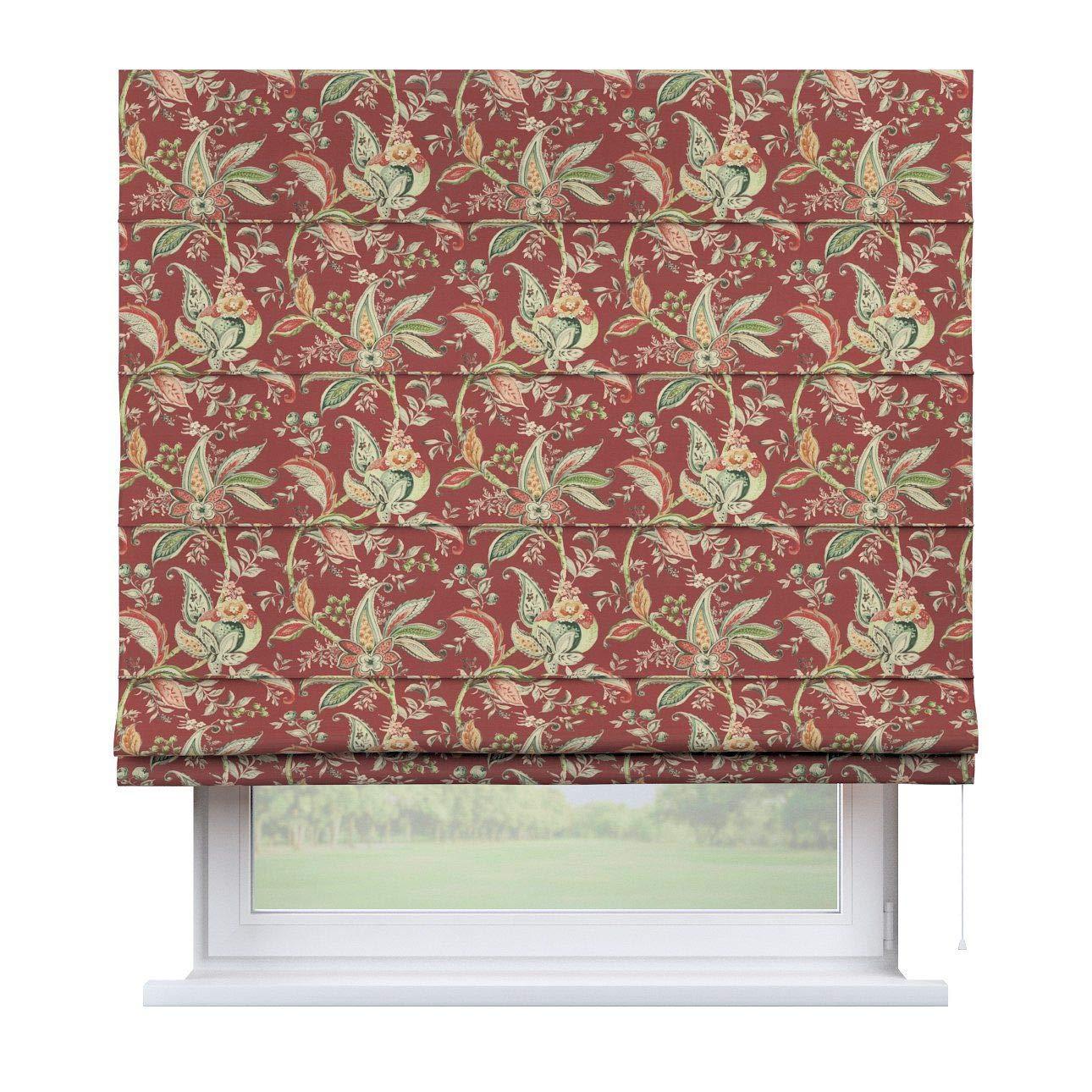 Dekoria Raffrollo Capri ohne Bohren Blickdicht Faltvorhang Raffgardine Wohnzimmer Schlafzimmer Kinderzimmer 130 × 170 cm rot Raffrollos auf Maß maßanfertigung möglich