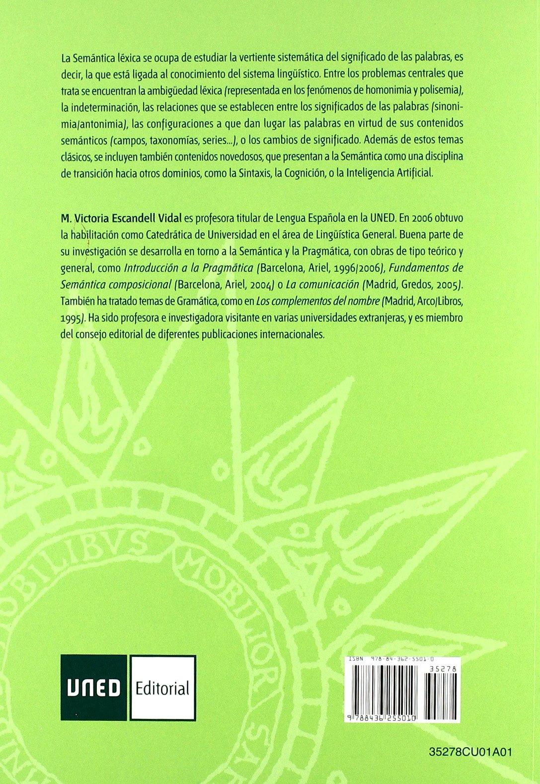 Apuntes de Semántica Léxica (CUADERNOS UNED): Amazon.es: Escandell Vidal, M.ª Victoria: Libros