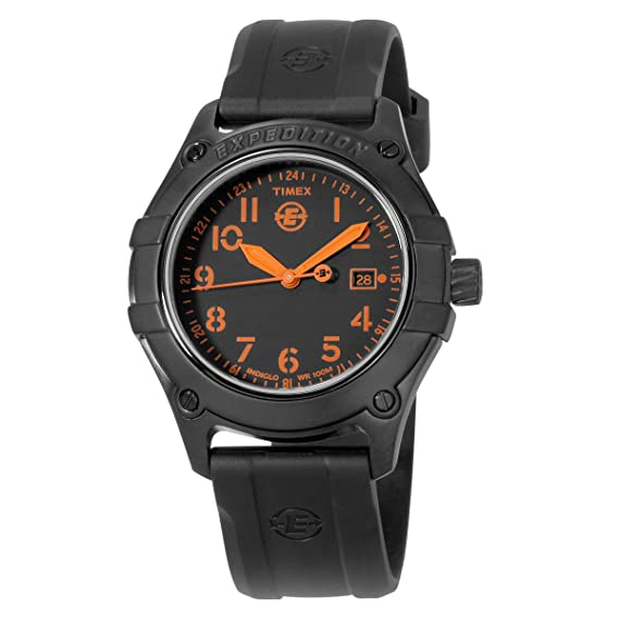 Timex Metal Fie - Reloj de caballero de cuarzo, correa de resina color negro (