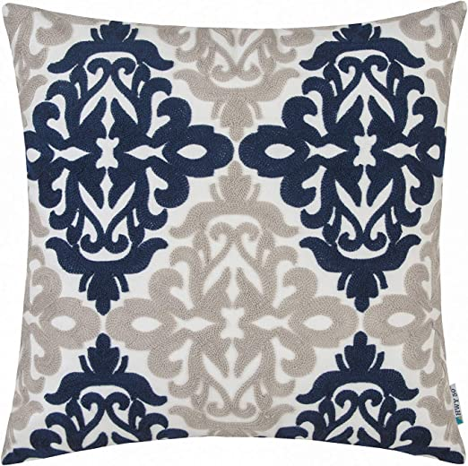Amazon.com: HWY 50 Navy Blue Grey Gray Decorative Embroidered