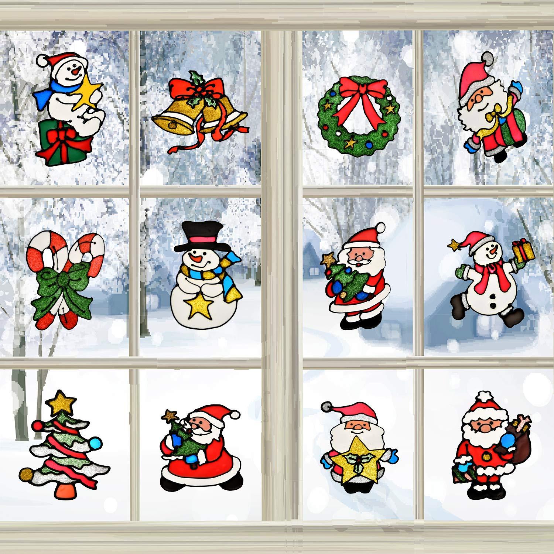 14 Pezzi Adesivi per Finestre Natale Babbo Natale Adesivo Modello Albero di Fiocco di Neve per Decorazioni per Feste Natalizie Boao