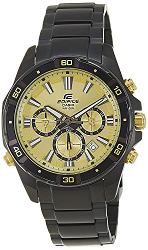e3ea82d3739 Buy Casio Edifice Chronograph Gold Dial Men s Watch - EFR-534BK-9AVDF  (EX173) Online at Low Prices in India - Amazon.in