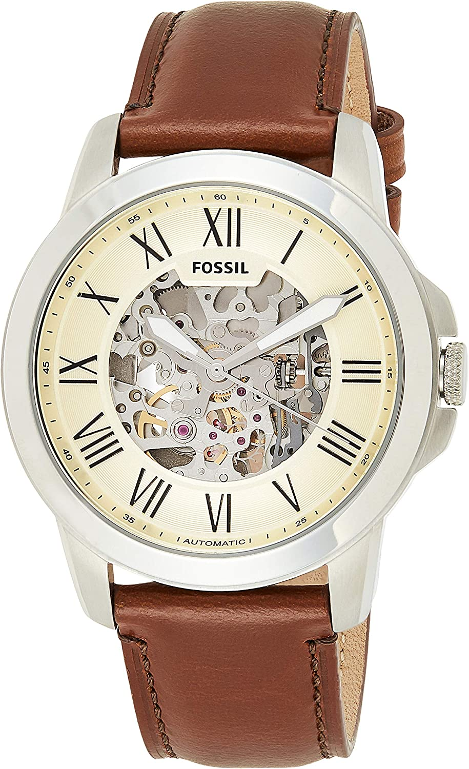 Amazon.com: Fossil Men's Grant Auto Automatic Leather Three-Hand Watch,  Color: Silver, Brown (Model: ME3099): Watches