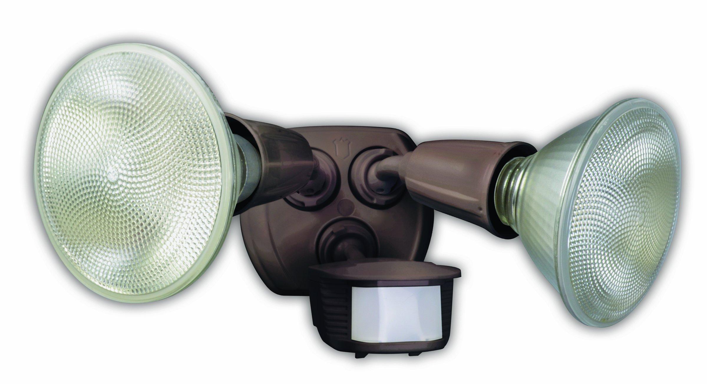 Designers Edge L6003BR 180-Degree Diecast Metal Twin Head Motion Activated Security Flood Light, Bronze, 240-watt