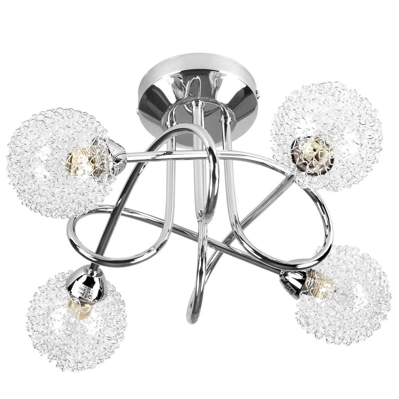 Deckenleuchte Deckenlampe mit modernen Glas-Drahtkugel A++ bis E Deckenbeleuchtung 4 flammig 28 W 36 x 36 x 19 cm Jago 98714
