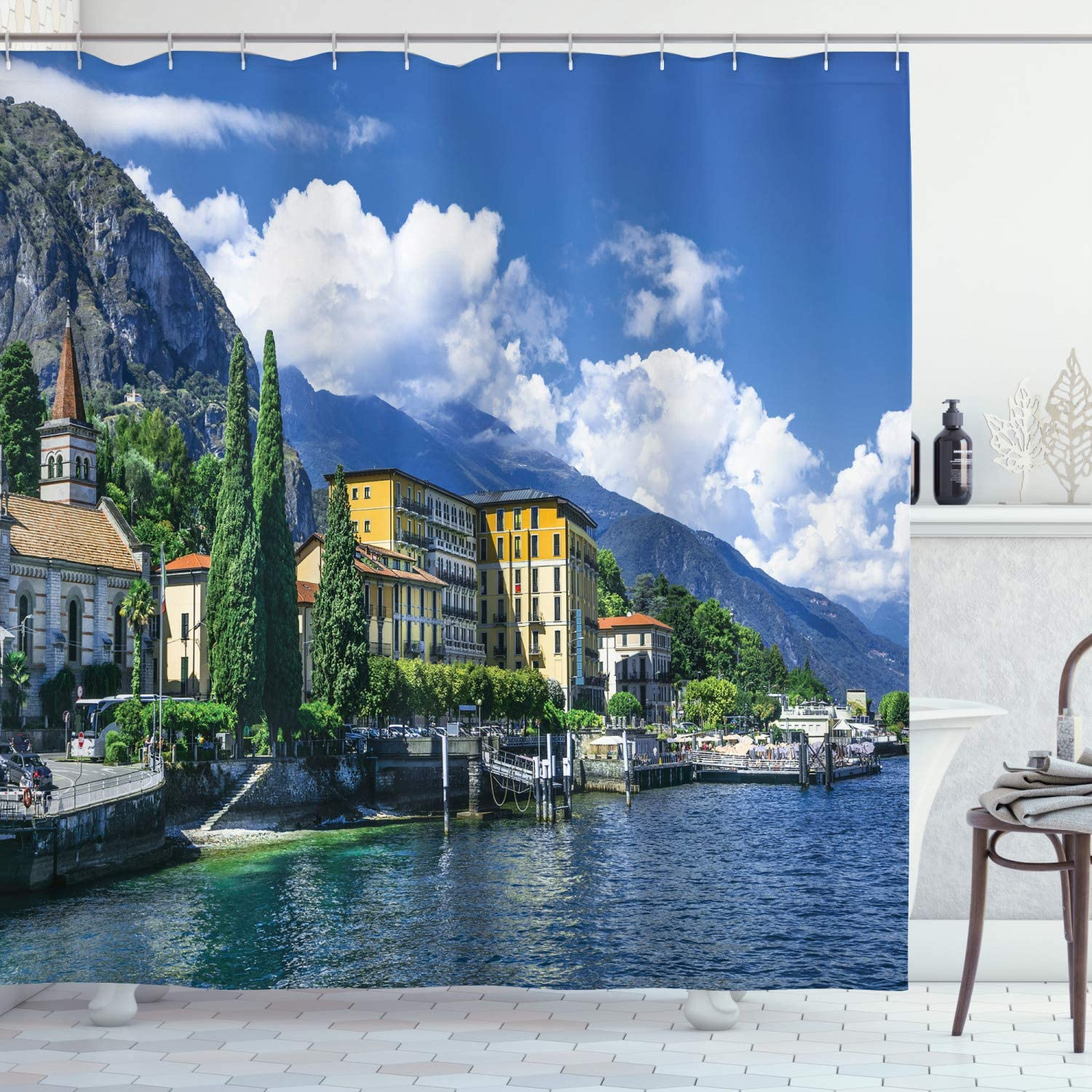 Italy Decor Shower Curtain By Ambesonne The Panoramic Landscape Of Lake Como Mountains And Clouds Digital Image Fabric Bathroom Decor Set With Hooks 70 Inches Blue And Green Amazon Co Uk Kitchen Home