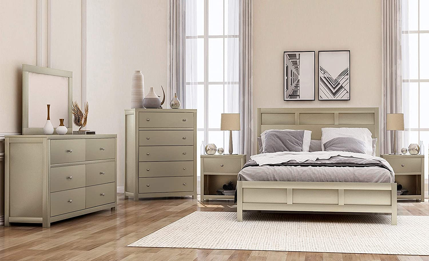 Amazon Com Softsea 6 Piece Furniture Set For Bedroom Modern Bedroom Sets With Solid Wood King Size Bed Frame 2 Nightstands 6 Drawer Double Dresser 5 Drawer Chest And Mirror Kitchen Dining