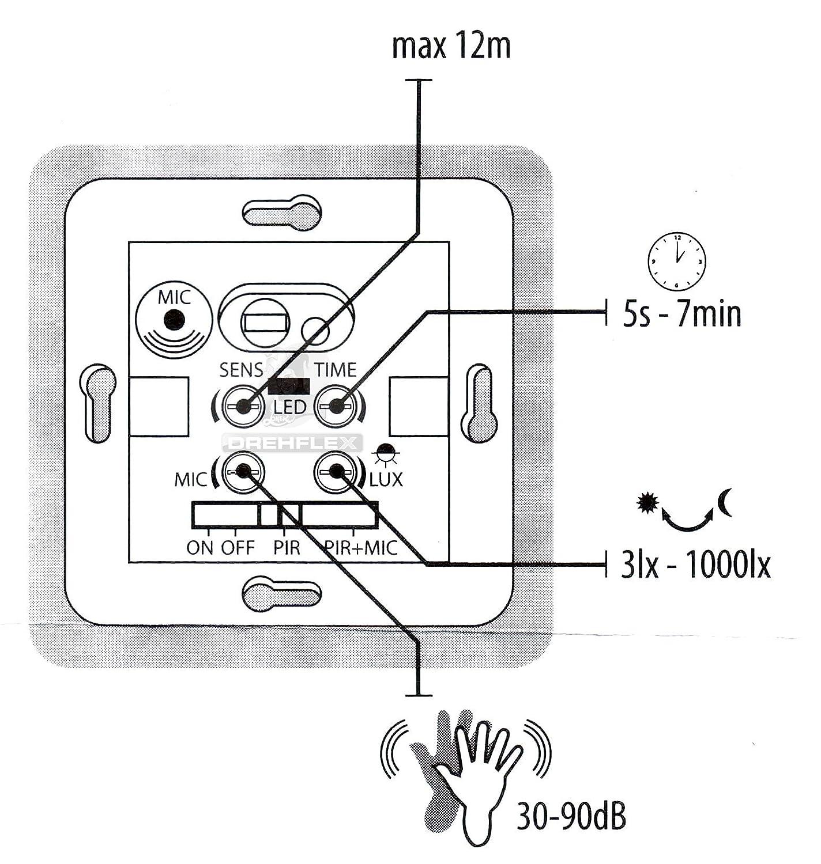 Instalación de pared sensor de movimiento DREHFLEX 2 alambre-Technik UP para 220 - 240 voltios AC: Amazon.es: Iluminación