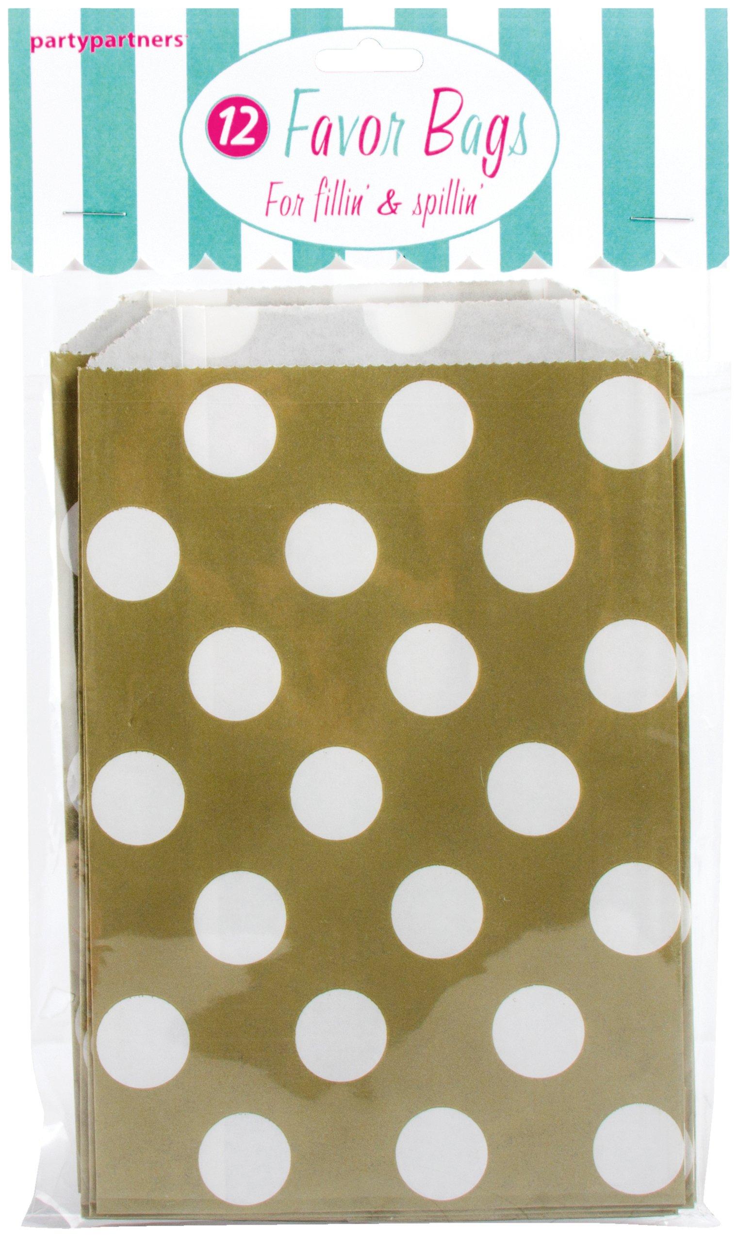 Party Partners 12 Count Paper Favor Bag, Gold Dots