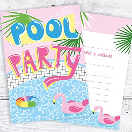 Olivia Samuel Pool Party Invites Pink Tropical Style Ready To Write With Envelopes Pack 10