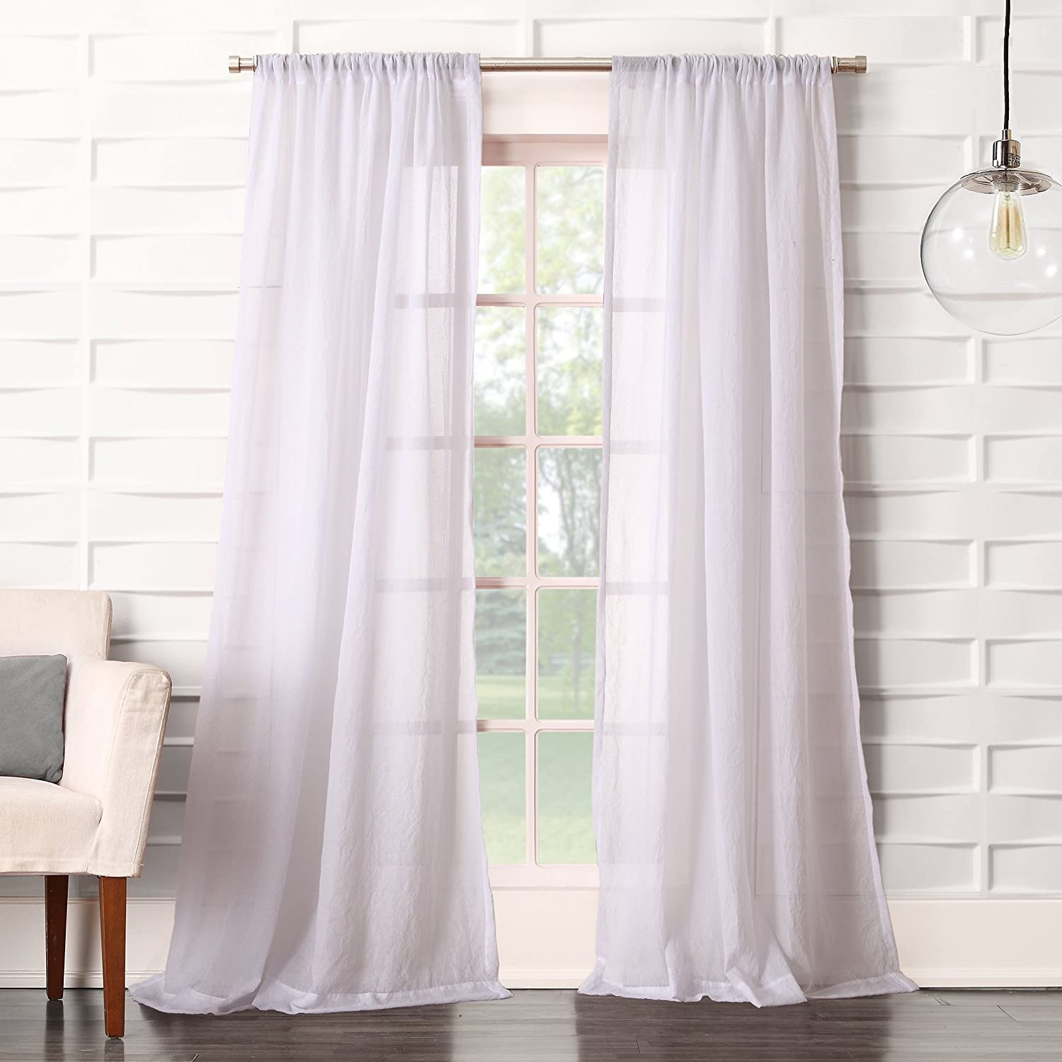 Amazon Com No 918 44078 Tayla Crushed Texture Semi Sheer Rod Pocket Curtain Panel 50 X 84 White Home Kitchen
