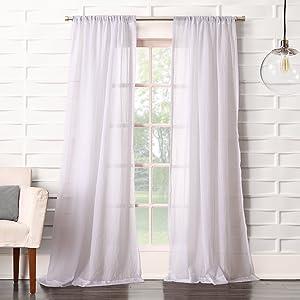 No. 918 44083 Tayla Crushed Texture Semi-Sheer Rod Pocket Curtain Panel, 50