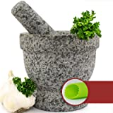 Mortar and Pestle Set - Unpolished Granite Bowl with Bonus Garlic Peeler | Great for Guacamole! | 2 Cup Capacity…