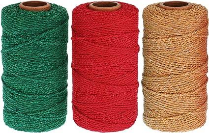 984 Pies de Hilo de Panadería de Algodón 2 mm de Cuerda de Embalaje de Navidad para Manualidades (Rojo, Verde, Marrón): Amazon.es: Oficina y papelería