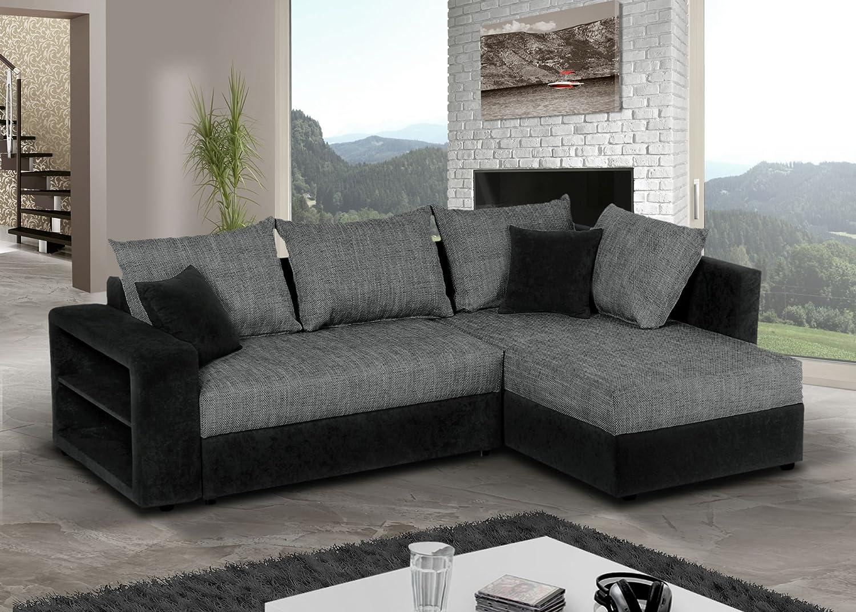 Eckcouch grau schwarz  Sofa Couch Ecksofa Houston Schlaffunktion Schlafsofa schwarz/grau ...
