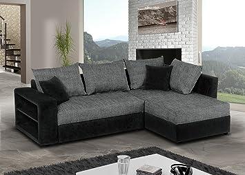 Ecksofa grau schwarz  Sofa Couch Ecksofa Houston Schlaffunktion Schlafsofa schwarz/grau ...