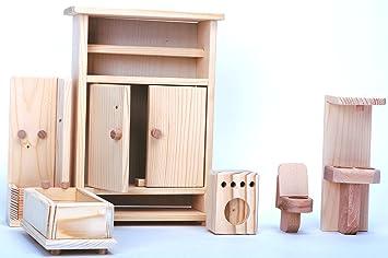 Naturholz Badezimmer Für Puppen / Holz Badezimmer 6 Stück / Satz Von 6  Holzspielzeug