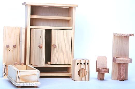 Naturholz Badezimmer für Puppen / Holz Badezimmer 6 Stück / Satz von ...