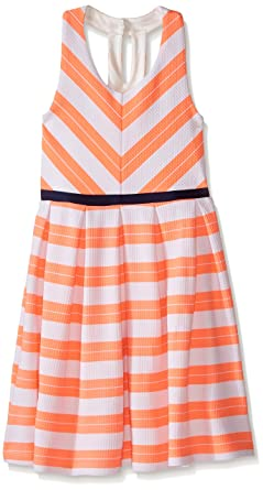 b50f332b25e5 ZUNIE Girls' Big Textured Knit Skater Dress with Open Back, Coral/White,