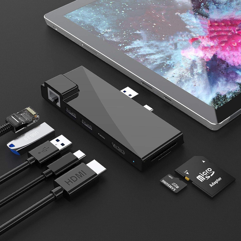 Microsoft Surface Pro 7 Dock hub, Adaptador Surface Pro 2019 7 en 2 con 4K HDMI, Carga USB C PD, 2 Puertos USB 3.0 (5 Gbps), Lector de Tarjetas SD/TF, LAN Gigabit Ethernet