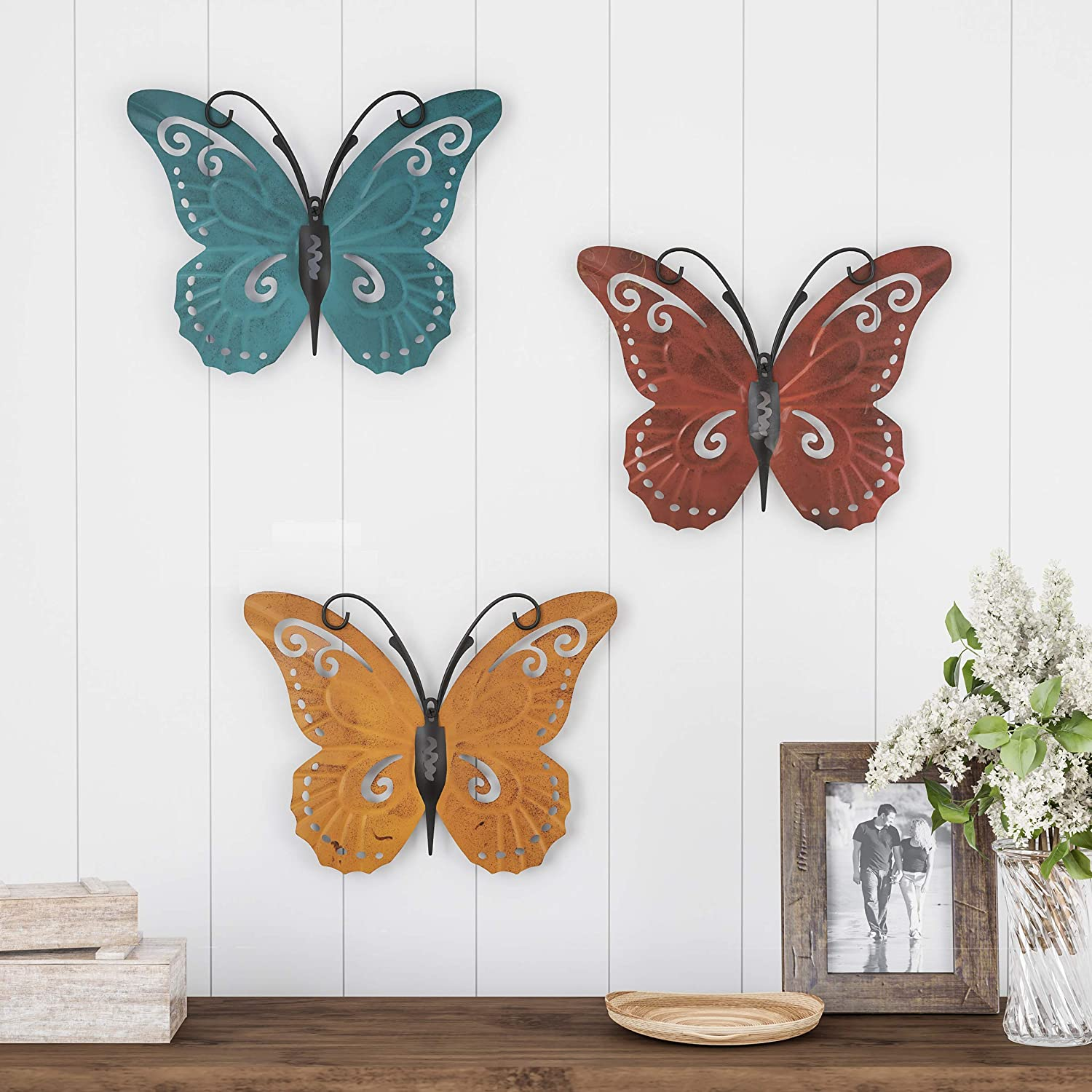 Lavish Home Metal Wall Art 3 Piece Set Hand Painted 3D Nature Butterflies for Modern Farmhouse Rustic Home or Office Decor, 3 Count