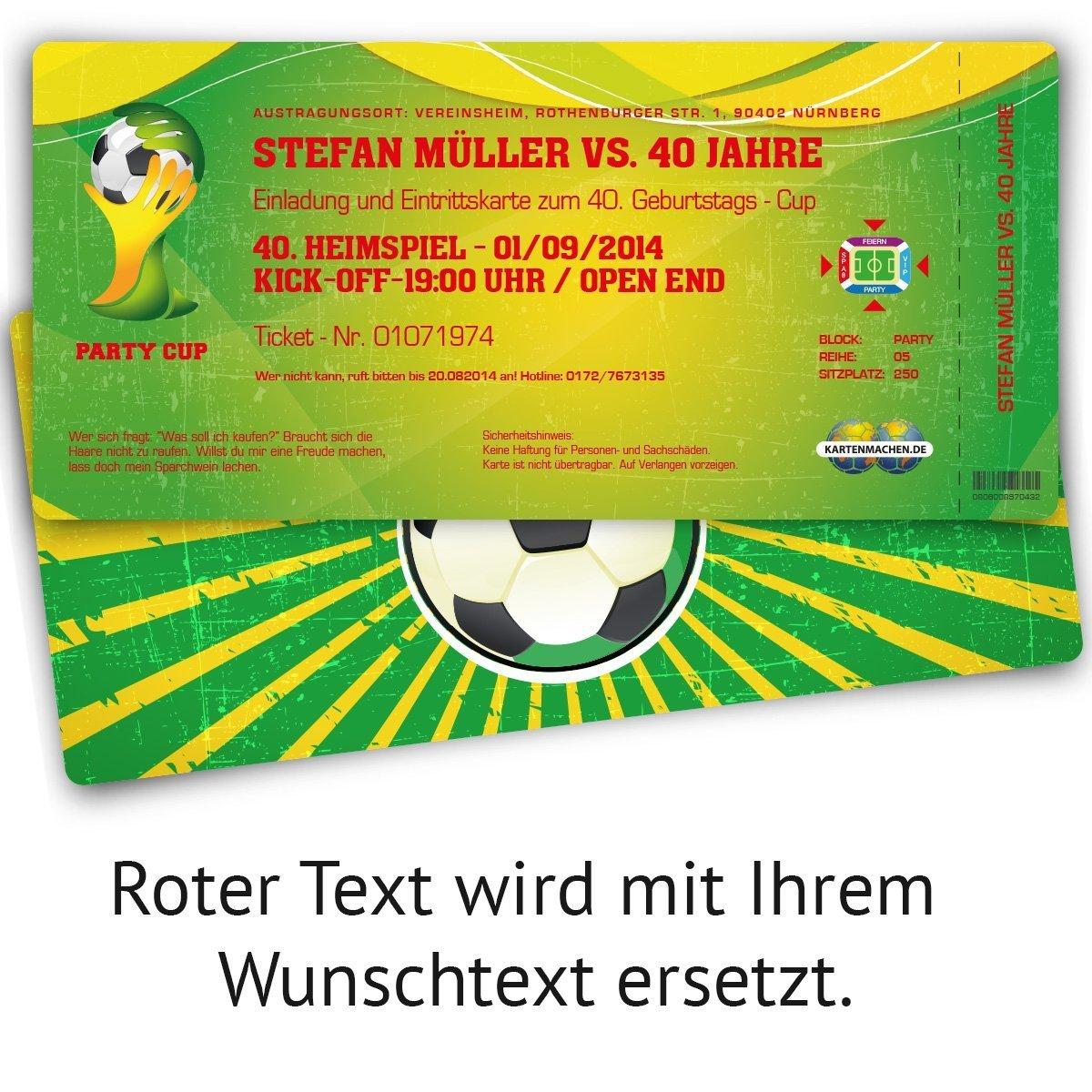 Einladungskarten zum Geburtstag (30 Stück) als WM Fussballticket ...
