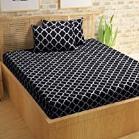 Urban Fab 144 TC Cotton Double Bedsheet with 2 Pillow Covers (King Size, Black)