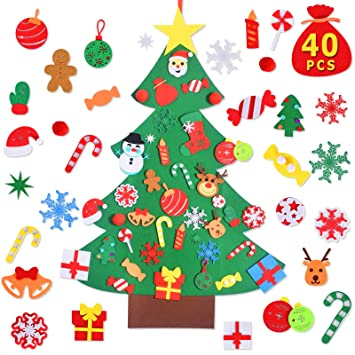 Various Festivals Decorations New Year Max Fun DIY Felt Christmas Tree Set with 40PCS Ornaments Wall Hanging Felt Craft Kits for Kids Christmas