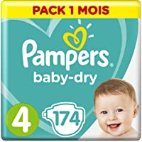 Pampers - Baby Dry - Couches Taille 4 (9-14/8-16 kg) - Pack 1 Mois (x174 couches)