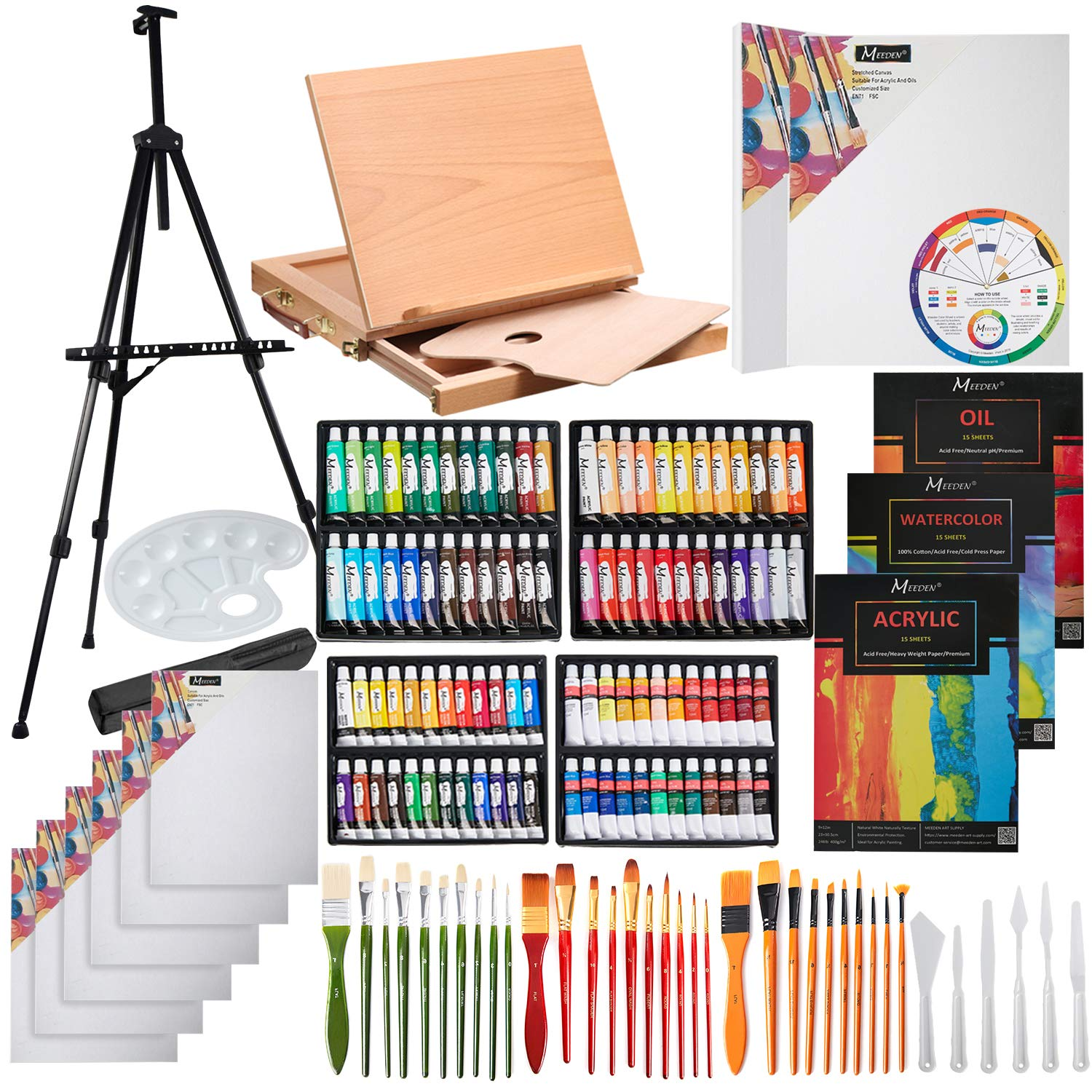 MEEDEN 148-Piece Deluxe Artist Painting Set with Aluminum and Solid Beech Wood Easel, Paint, Stretched Canvas and Accessories by MEEDEN