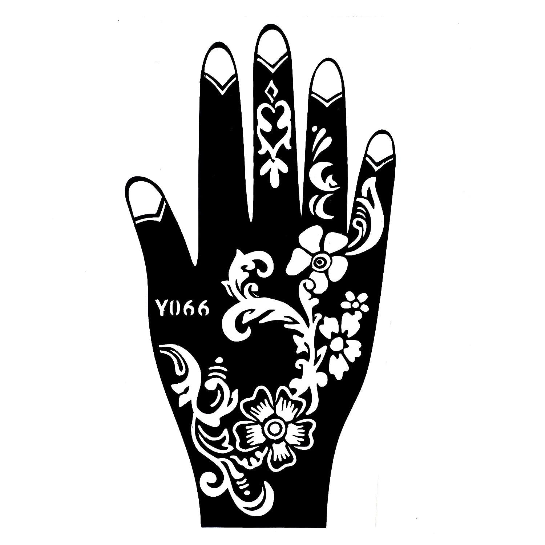 mehndi tatuaje plantilla para la mano mehndi Tatuajes AU henné y066–de desechable para la mano–para tatuajes AU henné, tatuaje purpurina y aerógrafo tatuaje Beyond