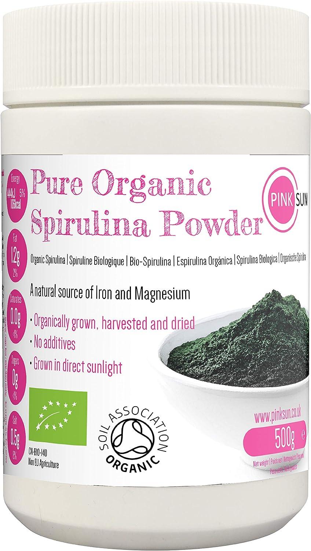 PINK SUN Espirulina Ecológica en Polvo 500g (o 1kg) Orgánica Alga Pura Vegetariano Vegano sin Gluten No OGM Bio 100% Natural Organic Spirulina Powder: Amazon.es: Salud y cuidado personal
